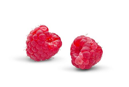 Raspberry and blackberry isolated on white background 写真素材