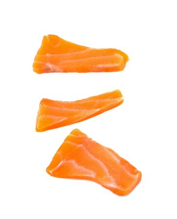 Slided Raw Salmon Sashimi White Background 写真素材
