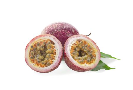 Passion-fruit closeup on white backgrounds 写真素材