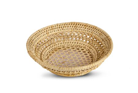 vintage weave wicker basket isolated on white background 写真素材
