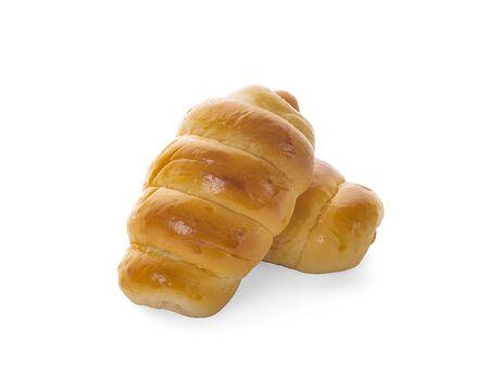 Fresh hot crusty bread rolls. Sausages in dough