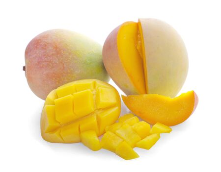 Mango cubes and mango slices. Isolated on a white background. 写真素材