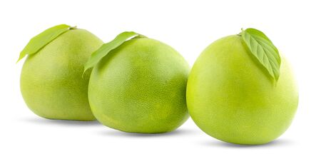 Pomelo citrus fruit with leaves isolated on white background. Clipping path