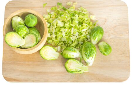 Fresh Brussels sprouts isolated on white 写真素材