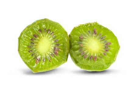 mini kiwiberry fruit on white background 写真素材