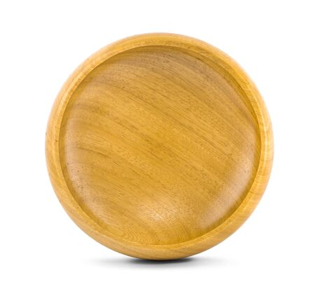 Empty wooden bowl an isolated on white background, view from above