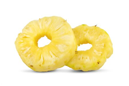 Pineapple rings. Canned pineapple slices isolated on white.