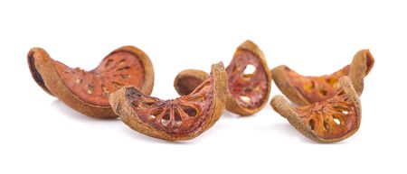 dried quince slices on a white background 写真素材