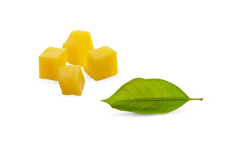 Mango fruit slices, cubes and leaves over white. File contains clipping path 写真素材
