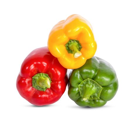 three bell peppers isolated on white background clipping path 写真素材