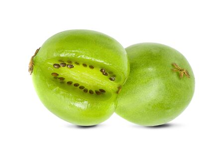 mini kiwi berry fruit on white background