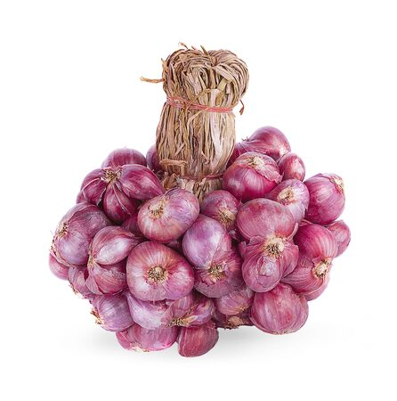 Shallot onions in a group isolated on white background.shallot or red onion. 写真素材