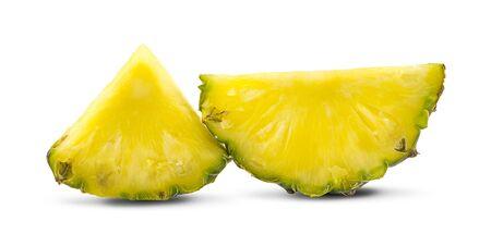 Ripe pineapple with leaf on white Zdjęcie Seryjne