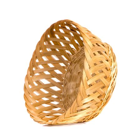 Empty wooden fruit or bread basket an isolated on white background