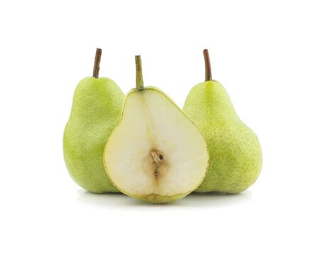 Isolated pears. One and a half green pear fruit an isolated on white background
