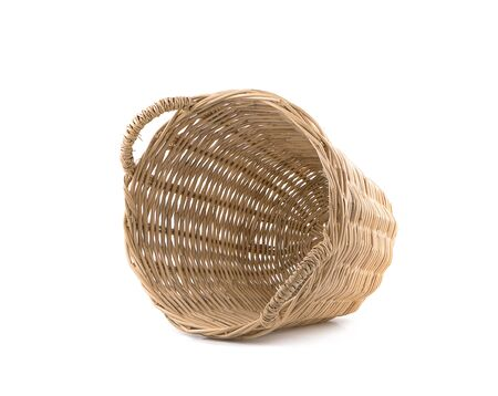 Wicker basket an isolated on white background.