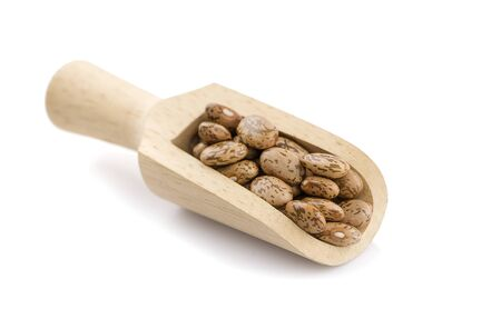 Pinto beans in a wooden spoon and scattered over white Zdjęcie Seryjne