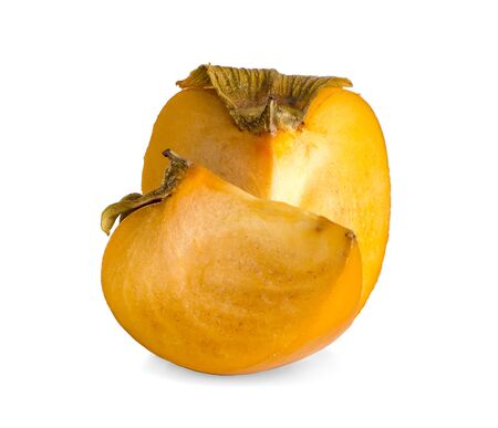 ripe persimmon fruit an isolated on a white backgrond