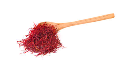 saffron threads an isolated on white background Banco de Imagens