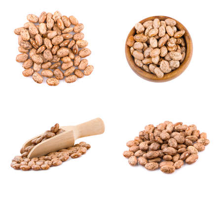 set Pinto beans an isolated on white background, top view Banco de Imagens