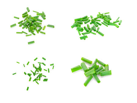 chopped green onions on white background Banco de Imagens