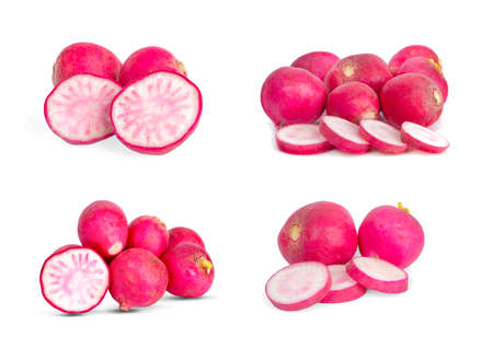 Set Small garden radish an isolated on white background Banco de Imagens