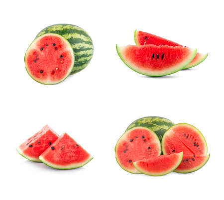 watermelon with slices an isolated on white background