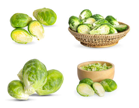 brussel sprouts vegetable an isolated on white background Banco de Imagens