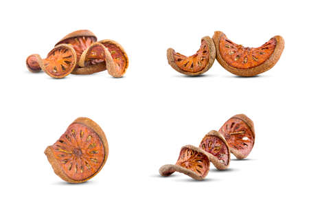 dried quince slices on a white background Banco de Imagens