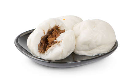 alapao steamed Chinese bun on dish  with isolated white background