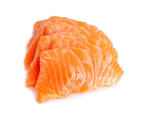 Slices of Raw Salmon Fillet Isolated on White Background Stock Photo
