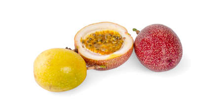 Passion fruit with half isolated on white background.