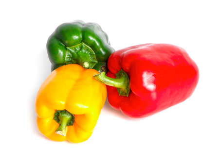 three bell peppers isolated on white background. Stok Fotoğraf