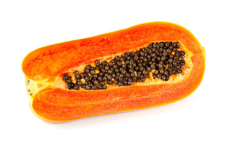 slice ripe papaya isolated on white background.