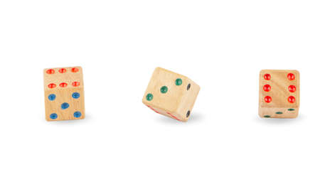 Wooden Dice isolated on  White Background