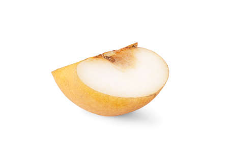 Snow pear or Korea pear fresh fruit with slices isolated on white background