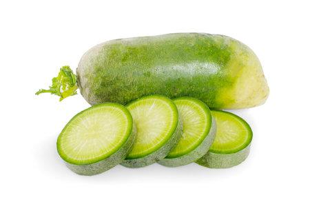 green radish slice on white background Zdjęcie Seryjne
