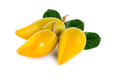 Egg fruit, Canistel, Yellow Sapote (Pouteria campechiana (Kunth) Baehni) on white background. Zdjęcie Seryjne