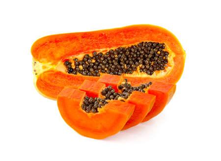 Ripe papaya slices on a white background