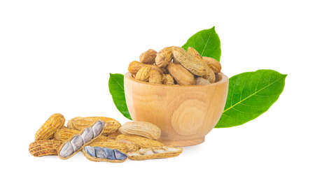 peanuts boil in wooden bowl an isolated on white background