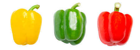 Three sweet pepper, paprika, isolated on white background