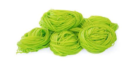 Jade noodle, vegetable noodles, green noodles isolated on white background