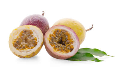 passion fruits and half isolated on white background.