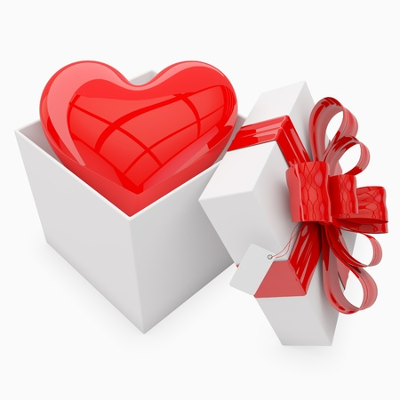 3d valentines gift with heart inside & tag