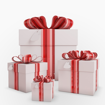 Four gifts boxes with Bow & heart tag Stock Photo