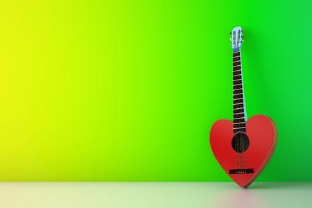 red guitar against green wall-3d render - 3d render