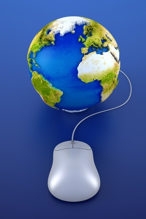 Computer mouse and globe 3d render Stock Photo