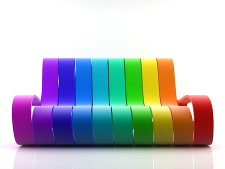Awsome 3d generated rainbow couch on white background