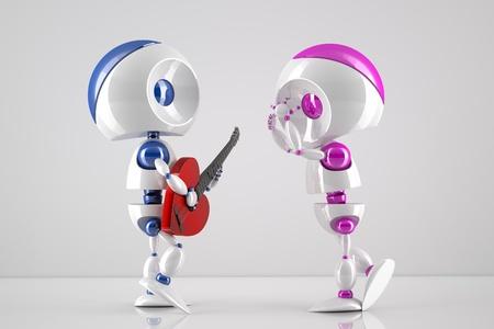 3d robot-boy singing a love serenade to his robot-girl Stock Photo