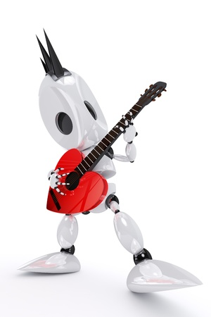 robot rock star playing a heart shaped guitar